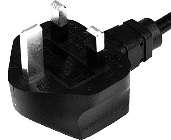 UK plug 13A, 3 pole, 2,0 m, 35 mm stripped with splices