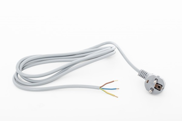 Angled Schuko plug, 3,0 m, 35 mm stripped with splices, grey