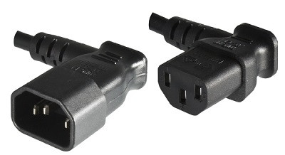 Angled IEC 60320 C14 plug to Angled IEC 60320 C13 connector 0,4 m, black
