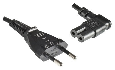 European Flat plug and Angled IEC 60320 C7 connector, 3,0 m, black