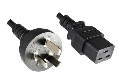 China plug 16A, 3 pole, 1,8 m, with IEC 60320 C19 connector, black