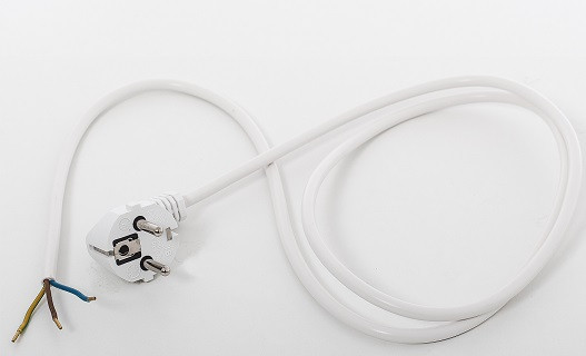 Angled Schuko plug, 2,0 m, 35 mm stripped with splices, white