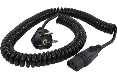 Coiled cable 1,6m with Angled Schuko plug and IEC 60320 C13 connector, black