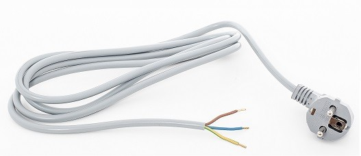 Angled Schuko plugn, grey, 2,0 m, 35 mm stripped with splices