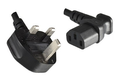 UK plug 10A, 3 pole, 2,0 m, with Angled IEC 60320 C13 connector, black