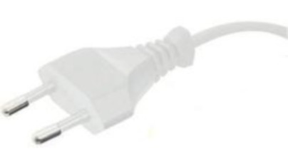 European Flat plug, white, 2,0 m, 30 mm stripped with splices